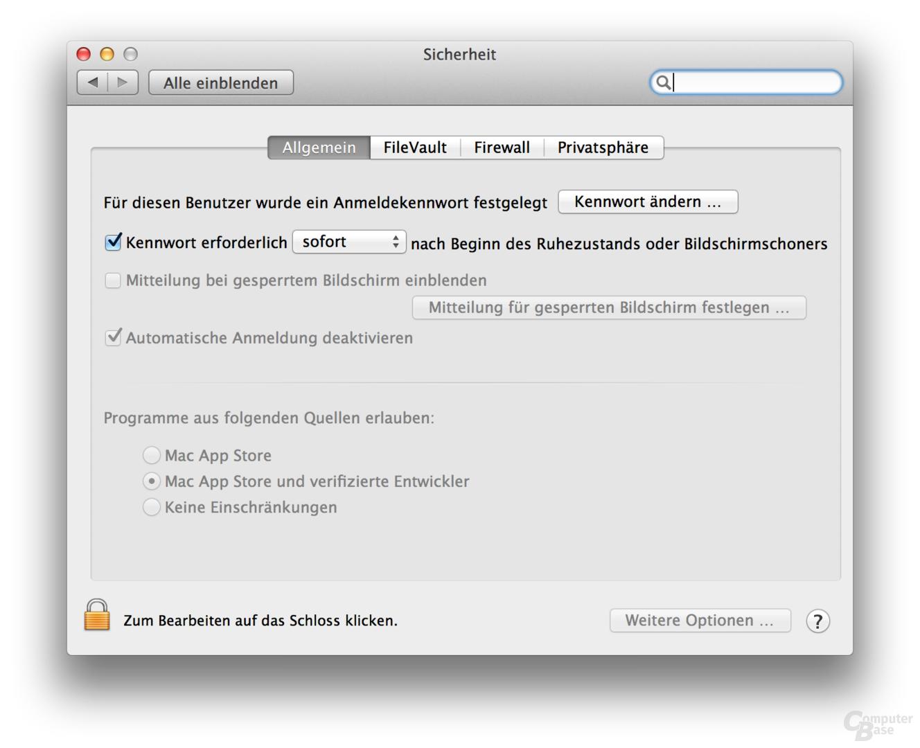 Sicherheitseinstellungen unter OS X 10.8 Mountain Lion