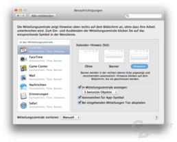 Mitteilungszentrale unter OS X 10.8 Mountain Lion