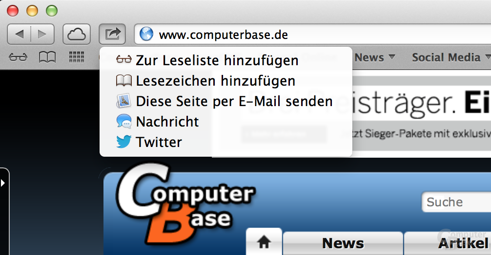 Teilen/Senden in Safari unter OS X 10.8 Mountain Lion