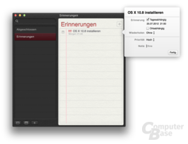 Erinnerungen in OS X 10.8 Mountain Lion
