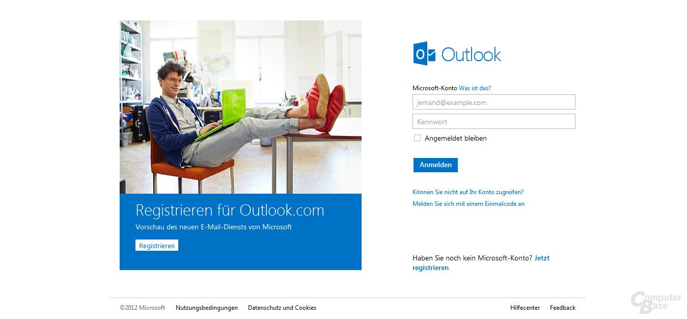Anmeldeseite auf Outlook.com