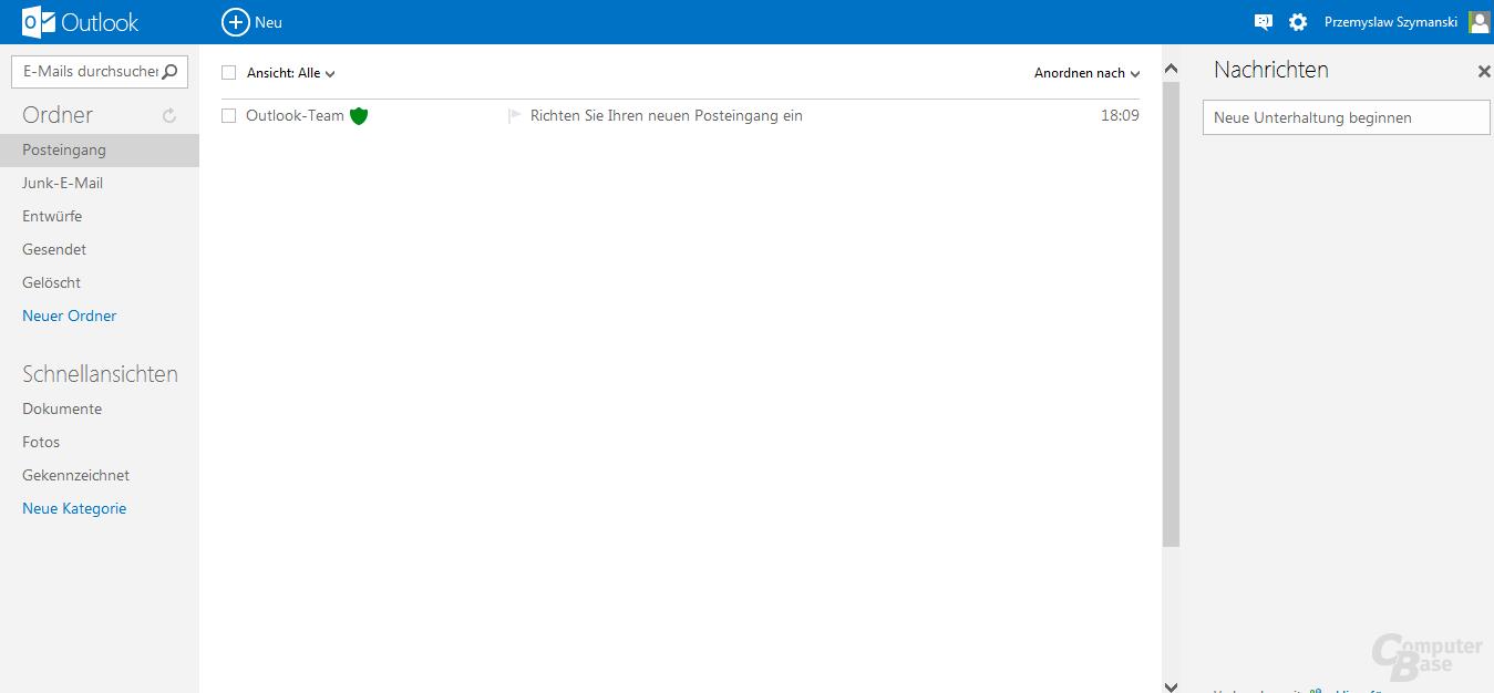 Hauptansicht des neuen E-Mail-Dienstes