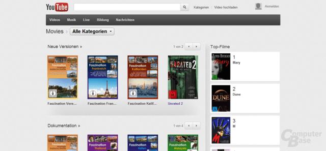 Ausschnitt der Auswahl bei YouTube Movies in Deutschland