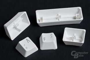 Leichte Tastenkappen aus weißem Kunststoff