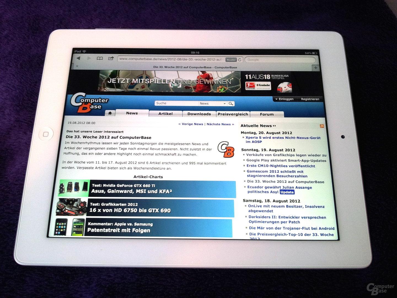 Randloses Tablet-Layout auf dem iPad