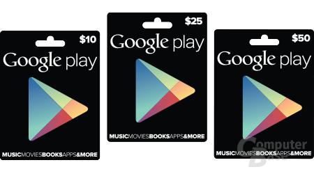 Gutscheinkarten für den Google-Play-Store in den USA