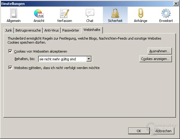 Do-Not-Track-Funktion in Mozilla Thunderbird 15