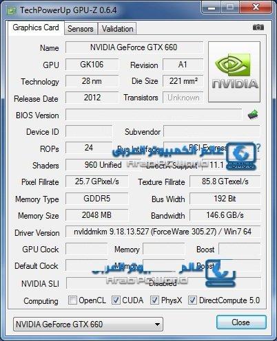 GPU-Z-Screenshot der GeForce GTX 660