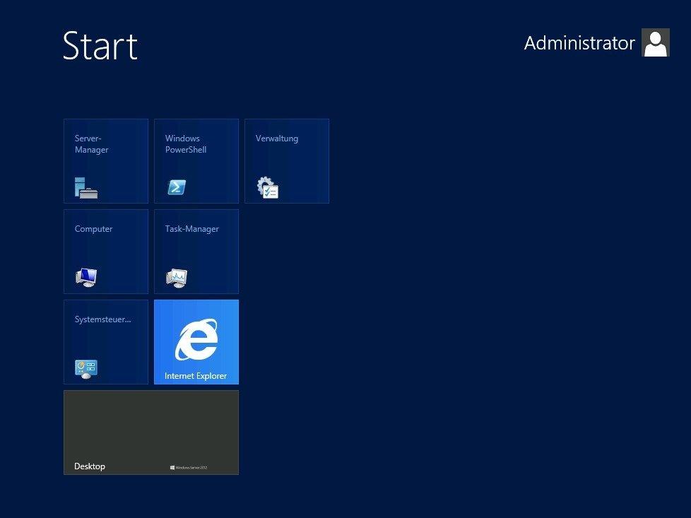 Windows Server 2012 mit der optional verfügbaren Benutzeroberfläche im Kacheldesign