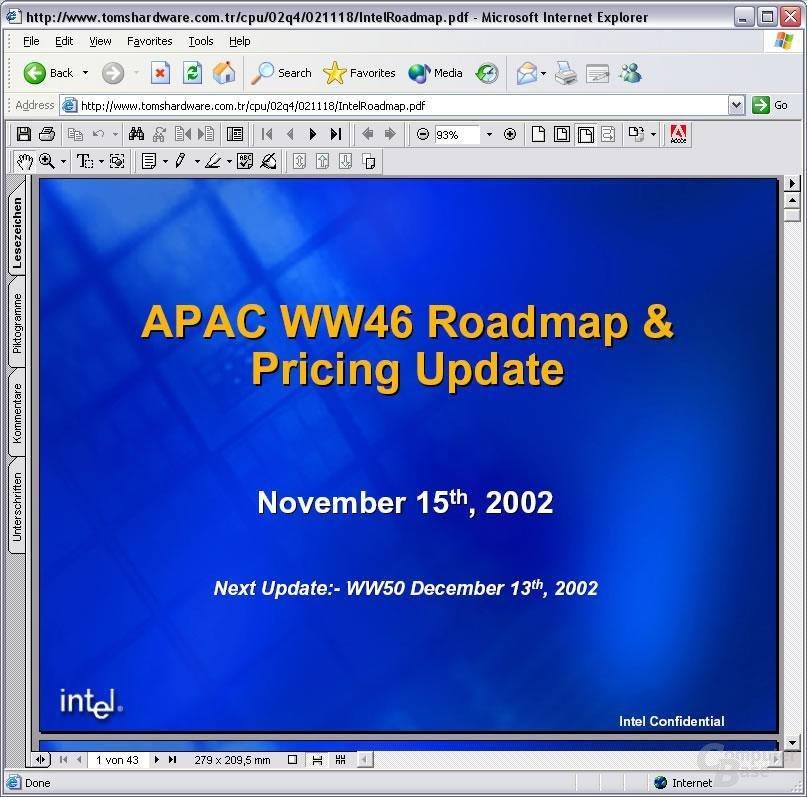 Intel Roadmap zum freien Download