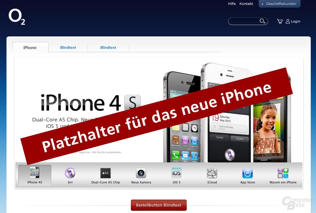 Platzhalter und Beispieltexte für das neue iPhone
