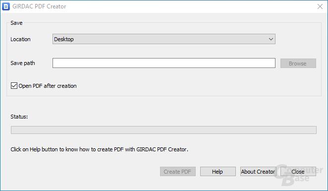 GIRDAC Free PDF Creator – Oberfläche
