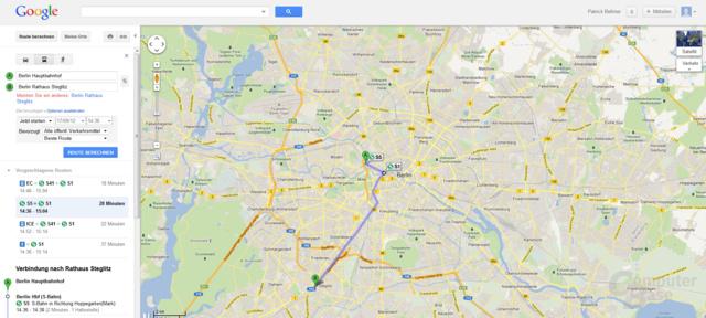 Google Maps: Routenplanung mit der Deutschen Bahn