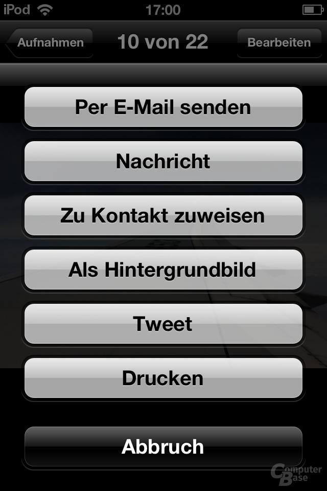 iPod Touch (iOS 5.1.1): Senden an...