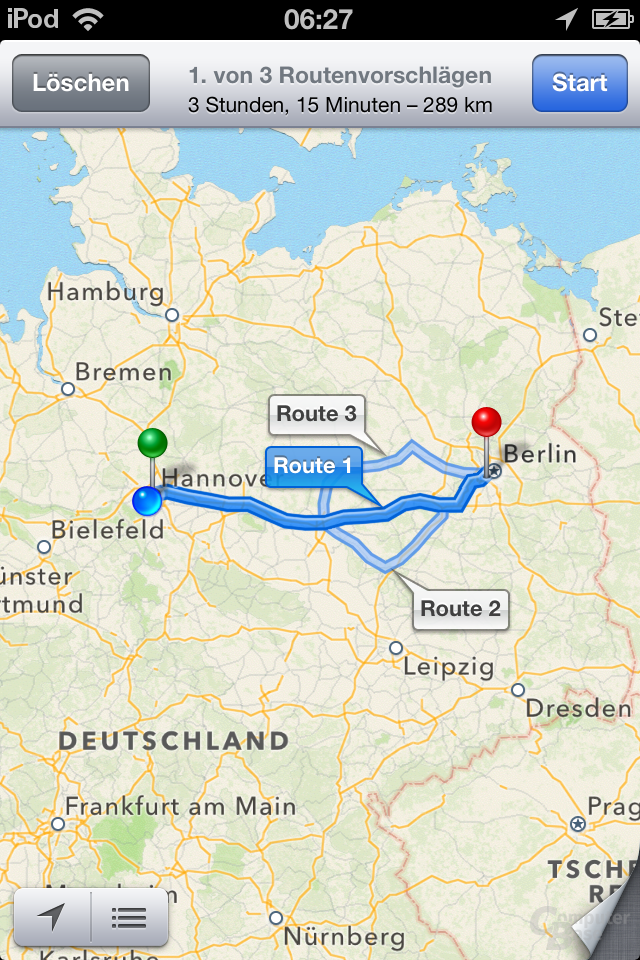 iPod Touch (iOS 6): Apple Maps Routenübersicht