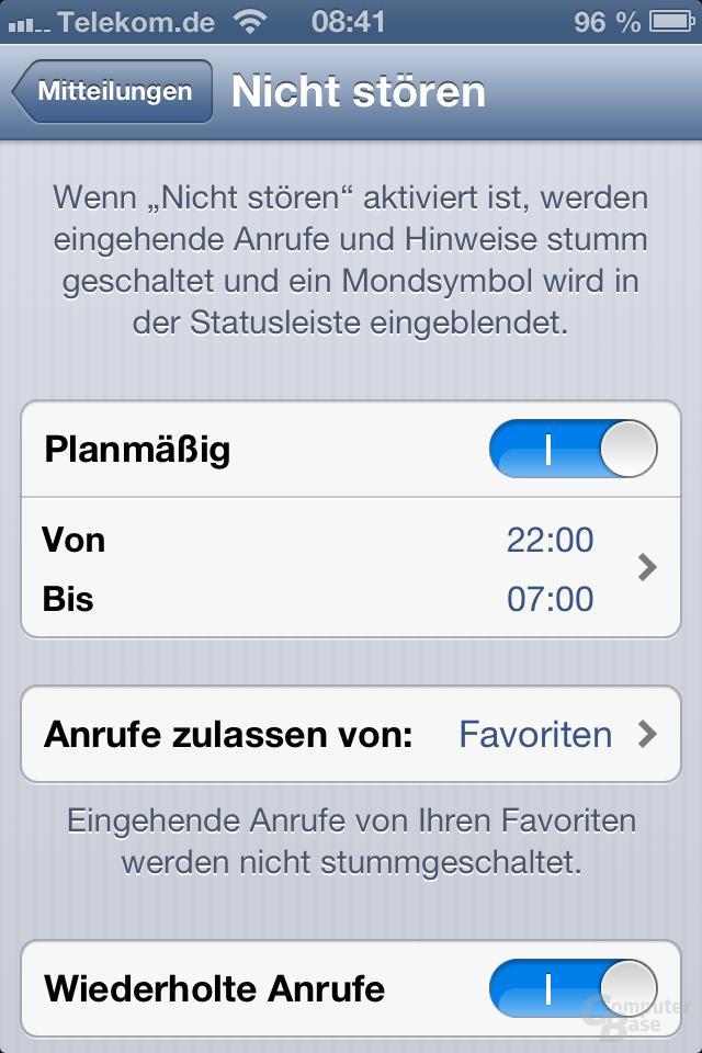 iPhone 4S (iOS 6): Nicht stören