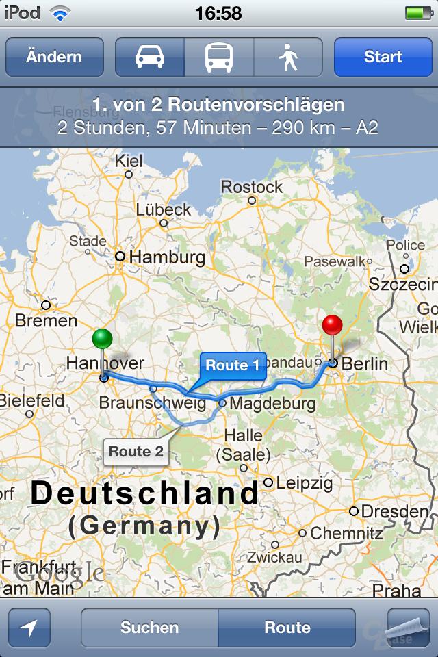 iPod Touch (iOS 5.1.1): Google Maps mit Routenübersicht