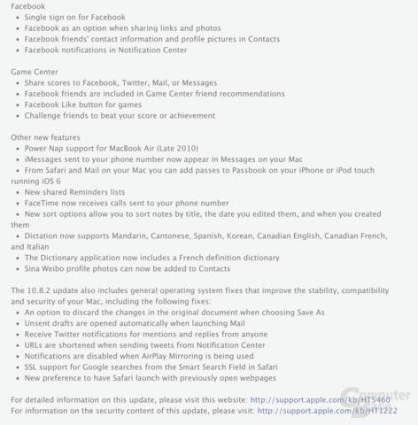 Neuheiten in OS X 10.8.2