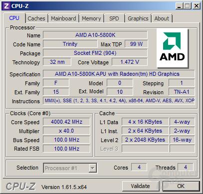 AMD A10-5800K im Turbo für vier Kerne