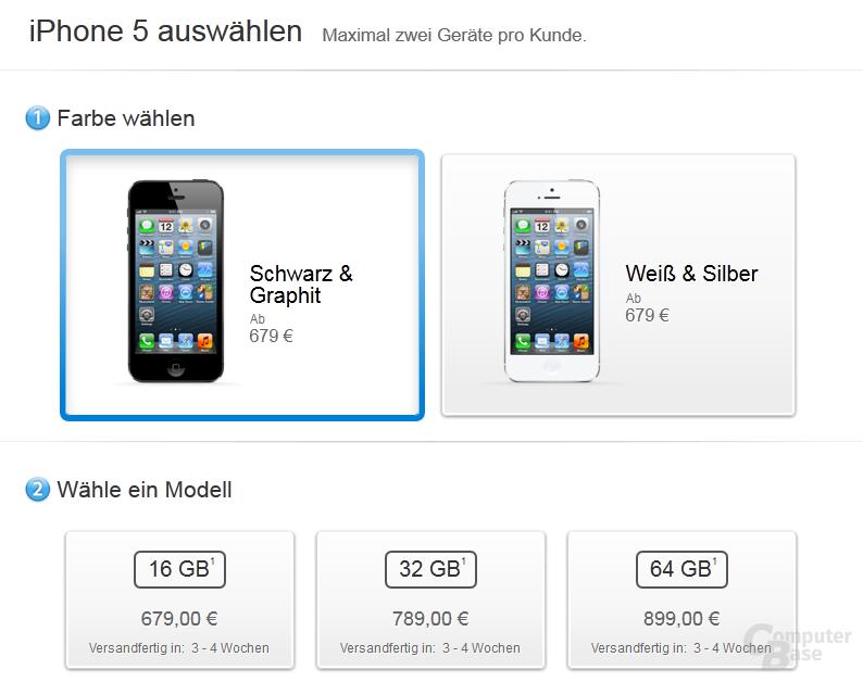 3 bis 4 Wochen Lieferzeit für das iPhone 5