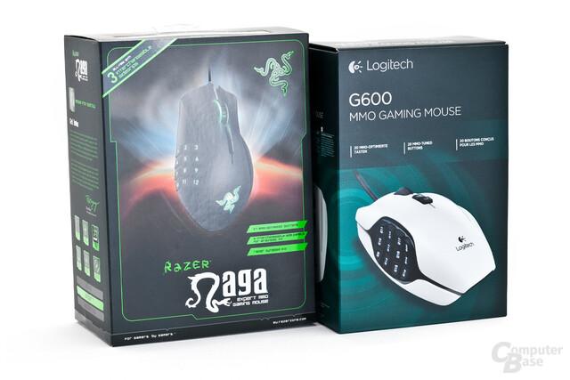 Retail-Verpackungen von Naga 2012 sowie Logitech G600