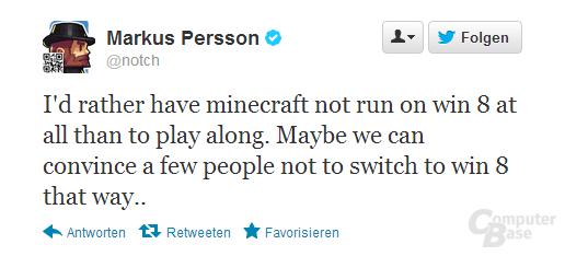Twittermitteilung von Markus Persson
