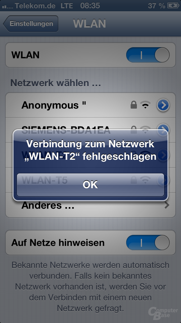 iOS 6: Verbindung zum WLAN nicht möglich