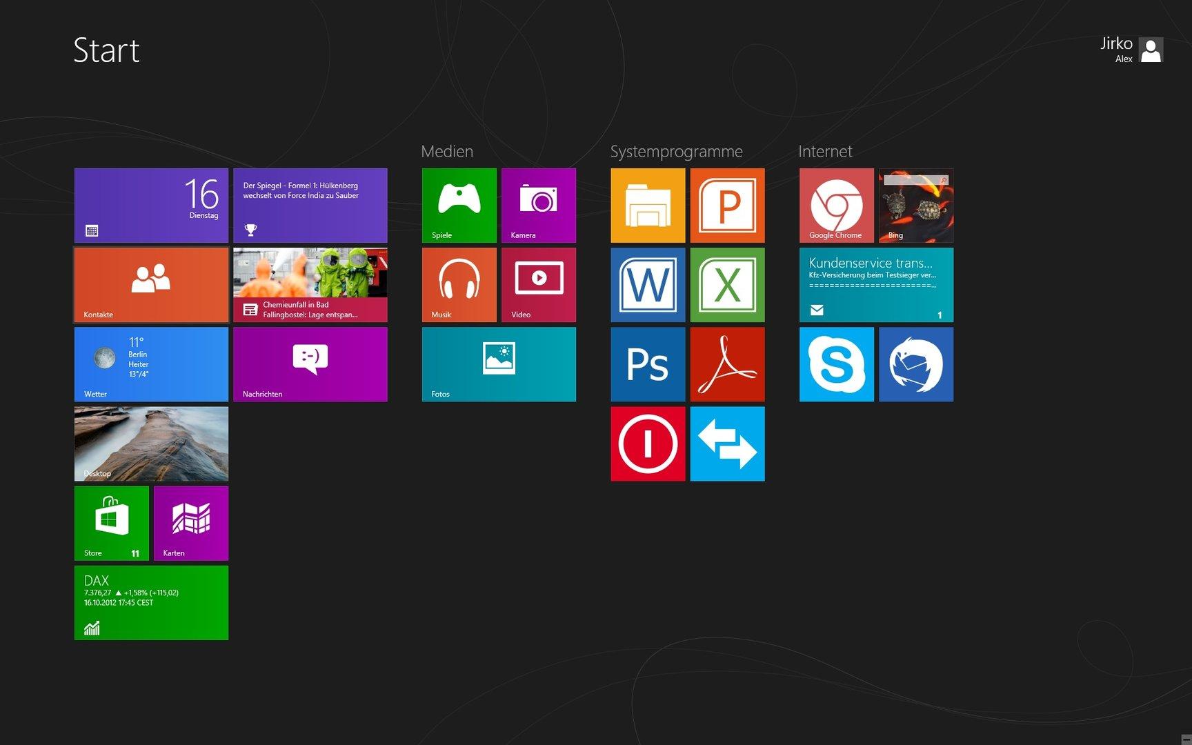 Windows 8 Modern UI mit angepasstem Tiles-Design