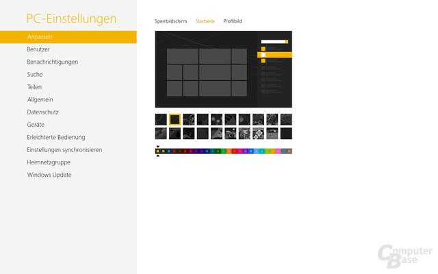 Standardeinstellungen für den Hintergrund der Modern UI