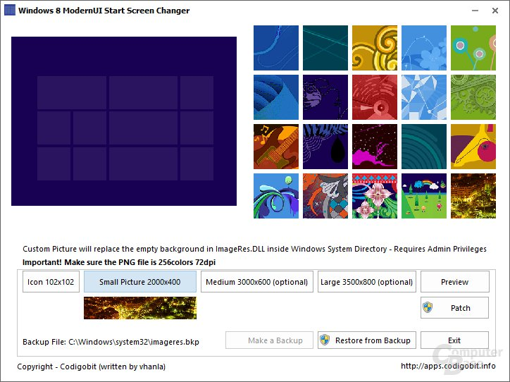 Windows 8 Modern UI Start Screen Changer