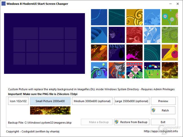 Windows 8 Modern UI Start Screen Changer