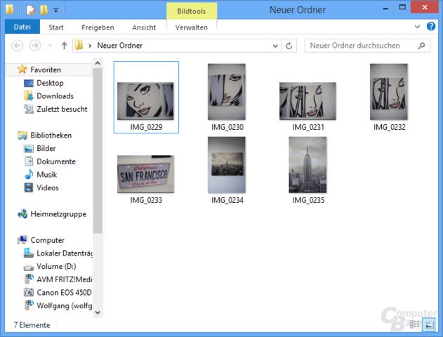 Bildansicht im Explorer von Windows 8