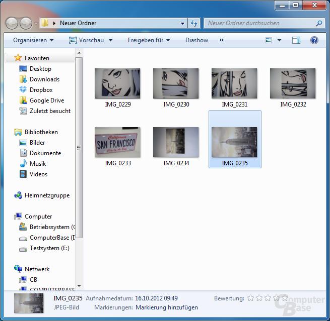 Bildansicht im Explorer von Windows 7