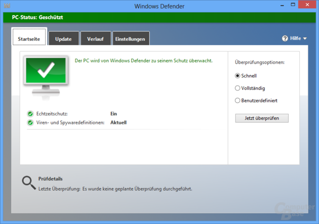 Windows Defender mit Antivirenschutz in Windows 8