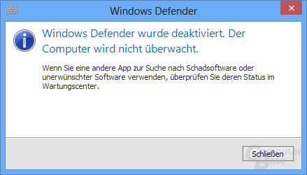 Hinweis von Windows Defender nach Installation einer alternativen Antiviren-Software