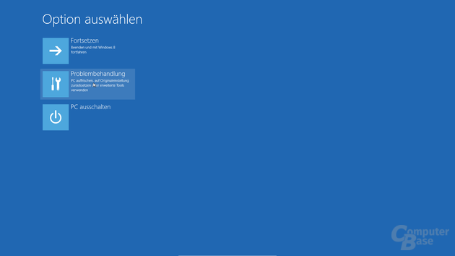 Bootmenü - Startbildschirm