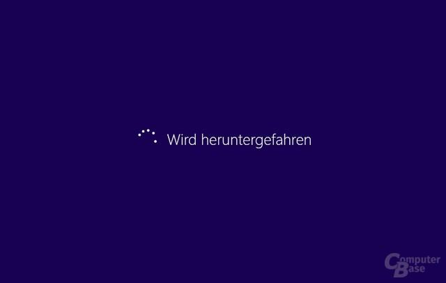 Windows 8 wird heruntergefahren