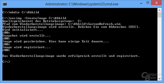 Windows 8 - Systemabbild mit RecImg