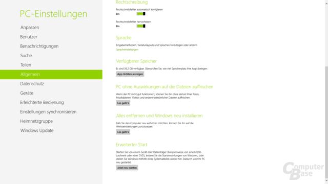 Windows 8 - Auffrischen und Zurücksetzen