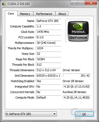 CUDA-Z in Windows – Core info