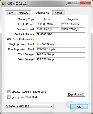 CUDA-Z in Windows – Performance