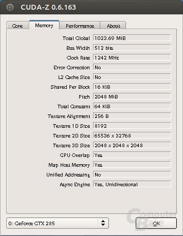 CUDA-Z in Linux – Memory info
