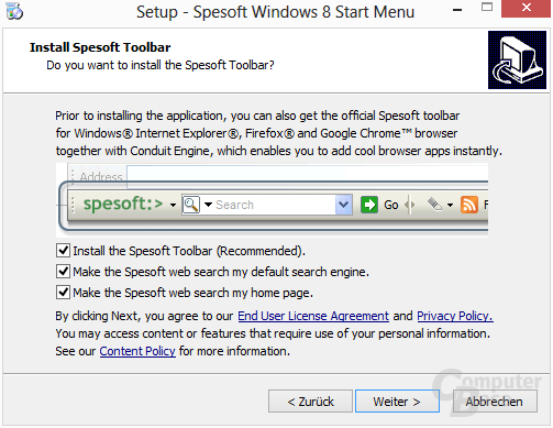 Spesoft Free Windows 8 Start Menu – Toolbar will mit
