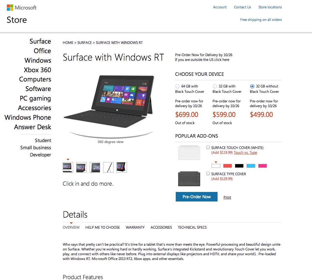 Auszug aus dem Microsoft Store