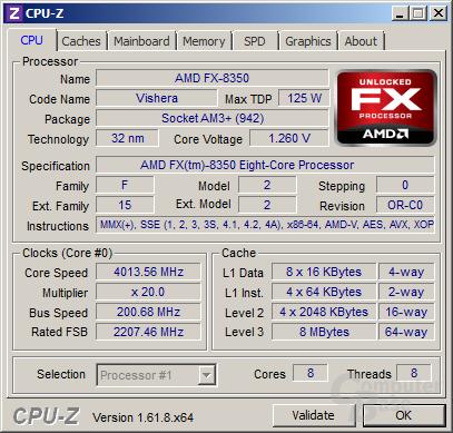 AMD FX-8350 bei 4,0 GHz