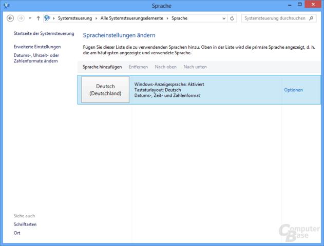 Sprache ändern unter Windows 8