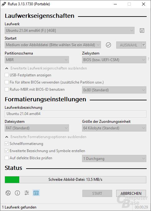 Rufus - Sicherung als VHD-Datei