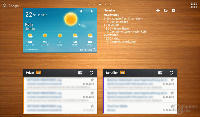 Original Screen: AccuWeather, Pure Calendar, TouchWiz-E-Mail-Widget