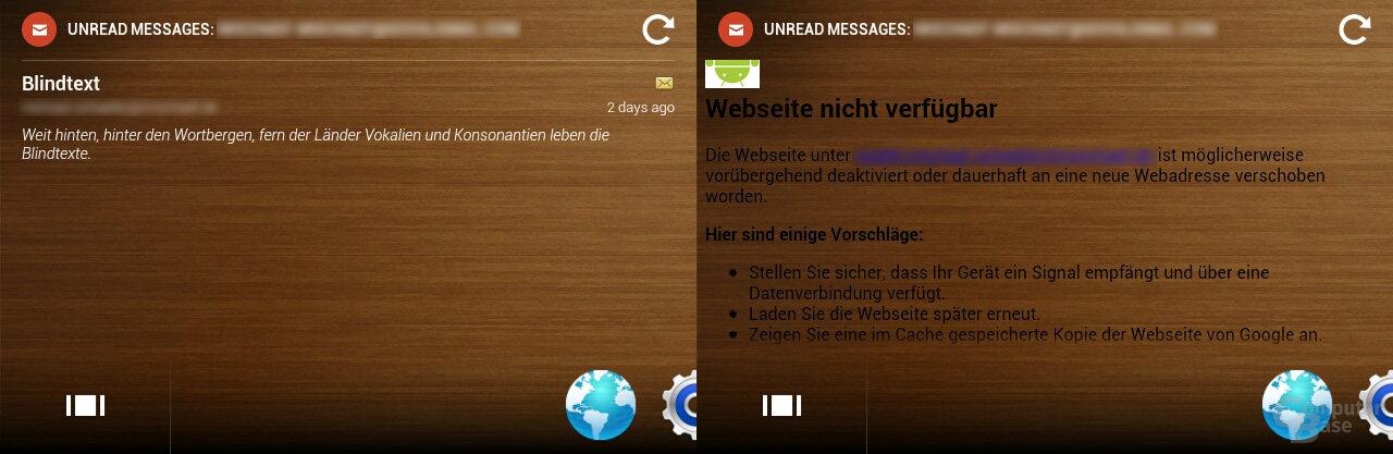 Email-Widget-Fehler
