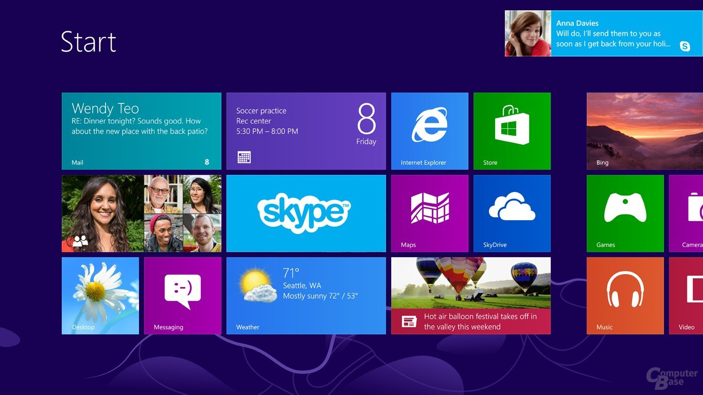 Skype auf dem Start Screen